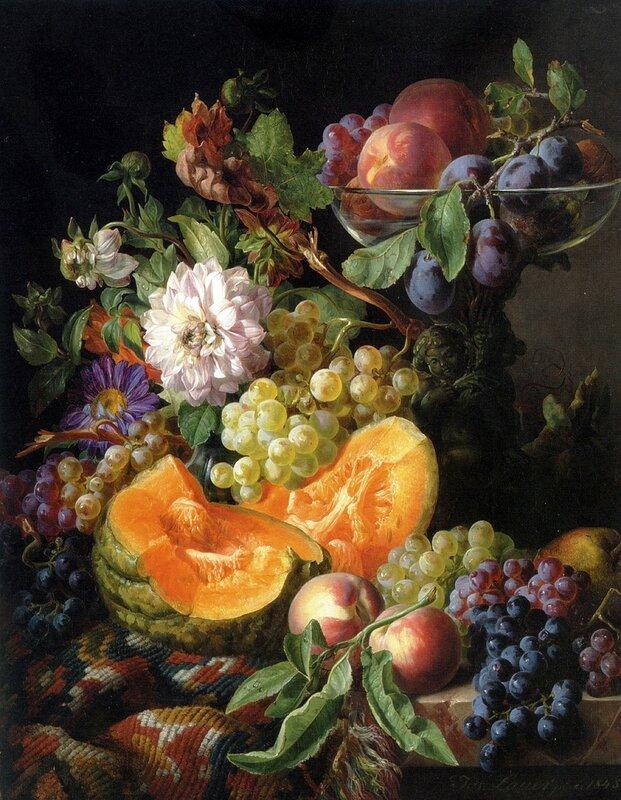 Цветы и фрукты на драпированном мраморном выступе
