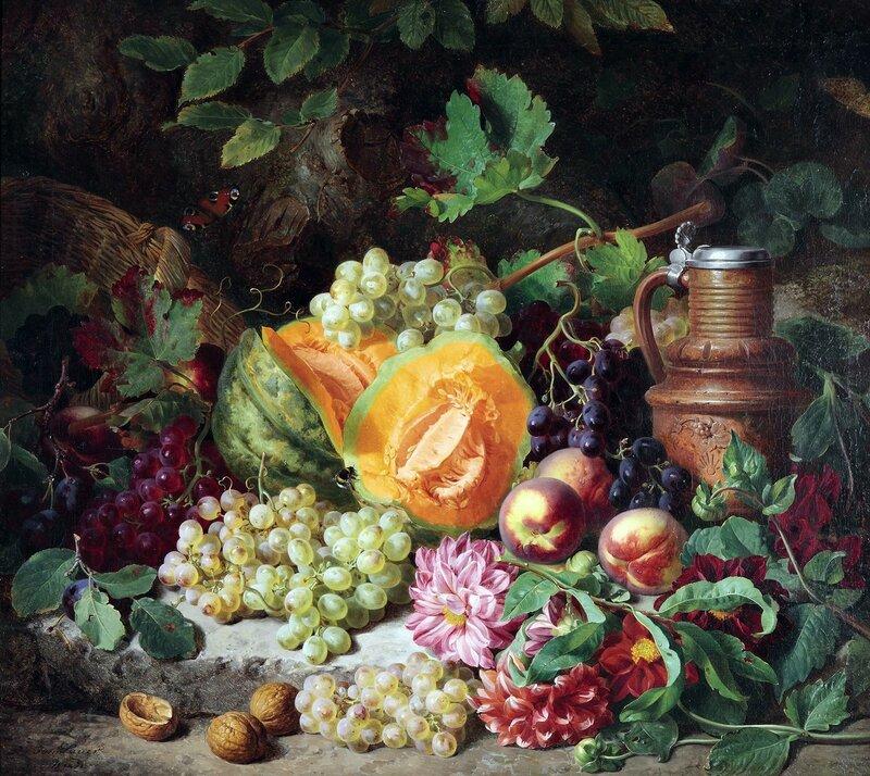 Роскошный натюрморт с фруктами и керамическим кувшином