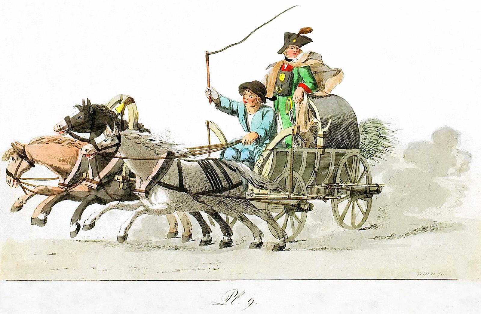 9. Drei Pferden gezogenen Wagens mit Kutscher und Kurier / ����� � ������ �� ������