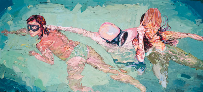Are you a swimmer? A number of your pieces are in the water, how do you paint bodies above water dif