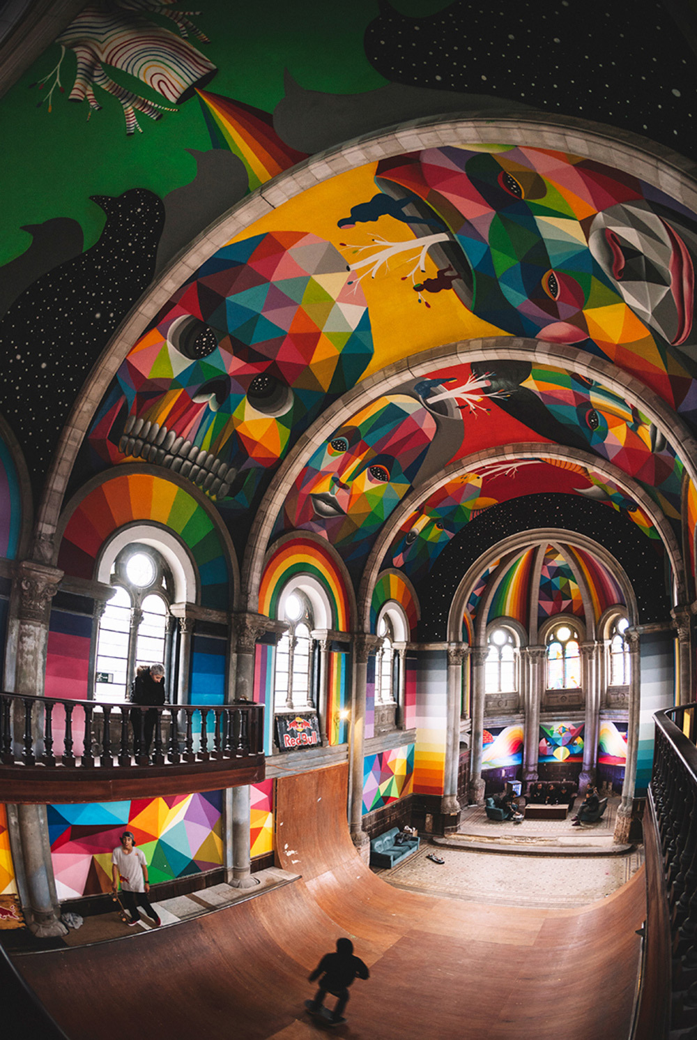 A 100-Year-Old Church in Spain Transformed into a Skate Park Covered in Murals by Okuda San Miguel (11 pics)