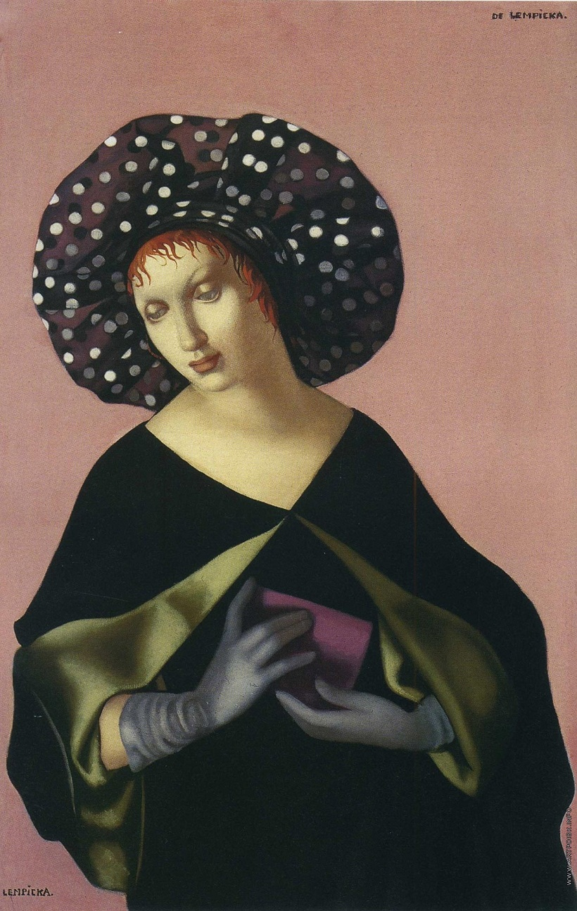 'Woman with Hat' by Tamara De Lempicka (1898-1980, Poland)