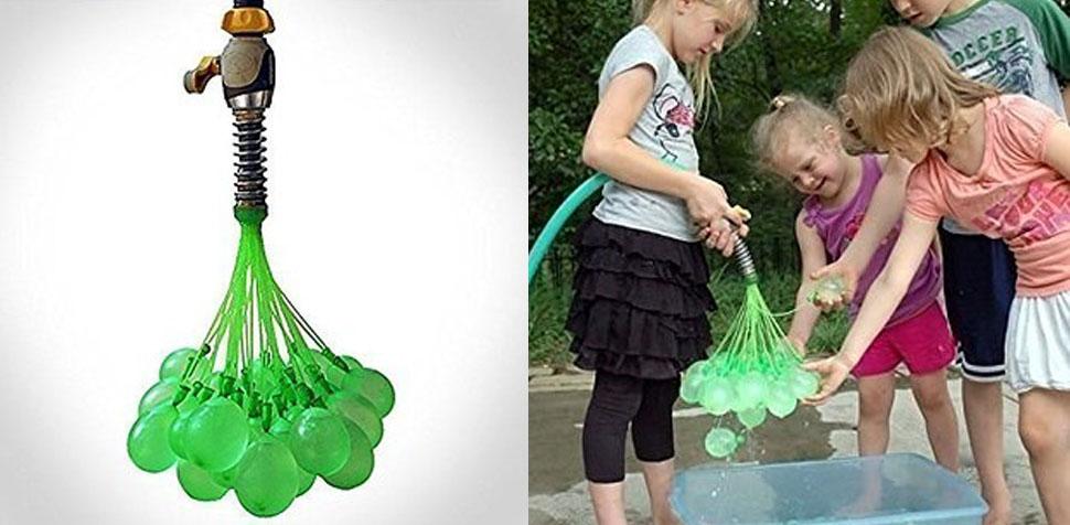 Специальная насадка, с которой можно надуть водой сразу сотню шариков.