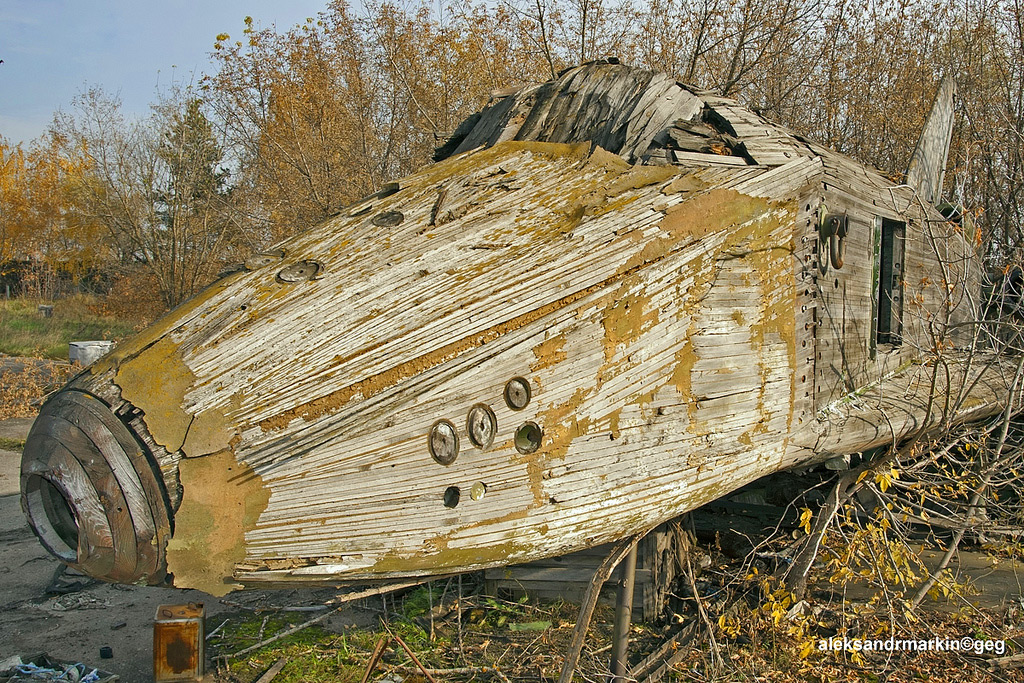 This Giant Abandoned Soviet Spaceship Made of Wood Looks Like the Ultimate Children's Playground Feature