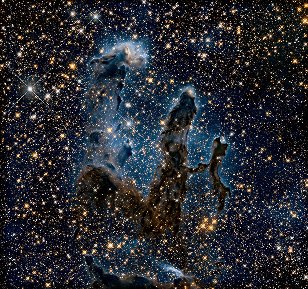 New view of the Pillars of Creation, infrared light. NASA, ESA/Hubble and the Hubble Heritage Team.