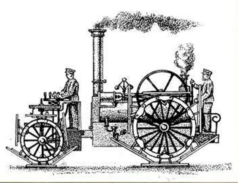 Паровой трактор Бойделя (1858 г.) со специальными плитами на колесах для повышения проходимости по топким грунтам..jpg
