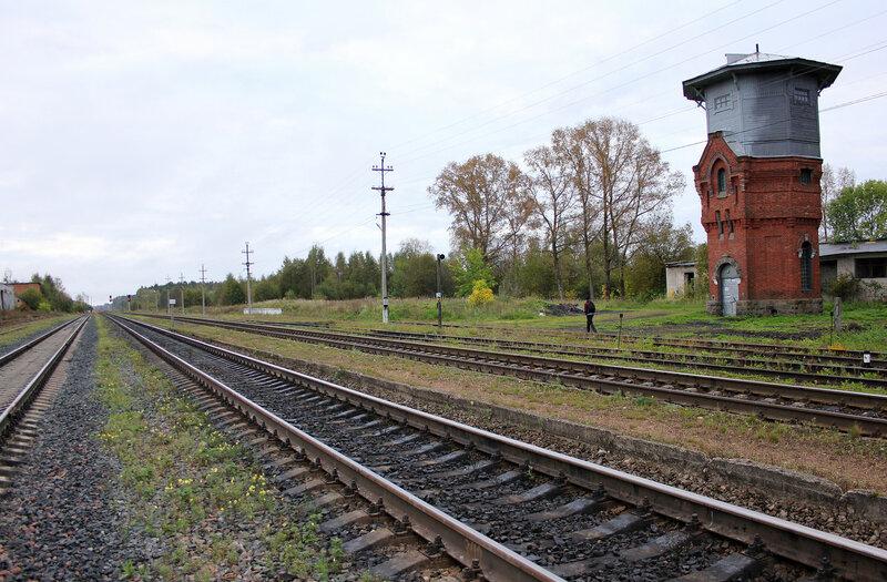 Станция Земцы и водонапорная башня начала 20-го века. Вид на Ржев и Жарковский