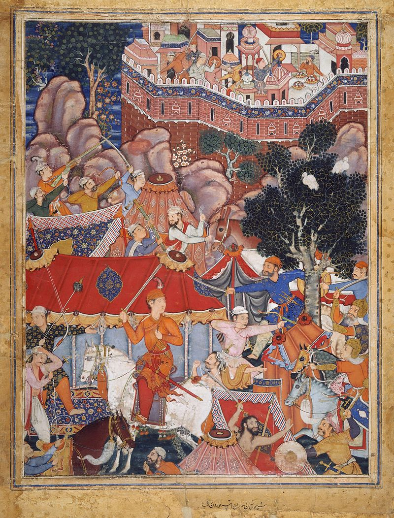 800px-2_Basawan__Assad_Ibn_Kariba_Launches_a_Night_Attack_on_the_Camp_of_Malik_Iraj,_Folio_from_a_Hamzanama_1564-69_Metropolitan_Museum_N-Y.jpg