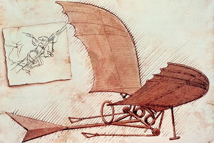 Крылатый параплан. Воображение да Винчи было до предела наполнено идеями летающих машин, в том числе