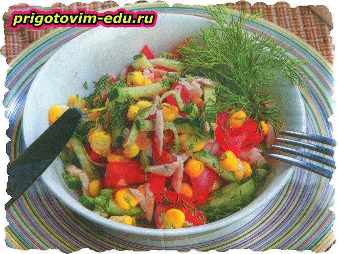 Салат с копченой курицей за 5 минут