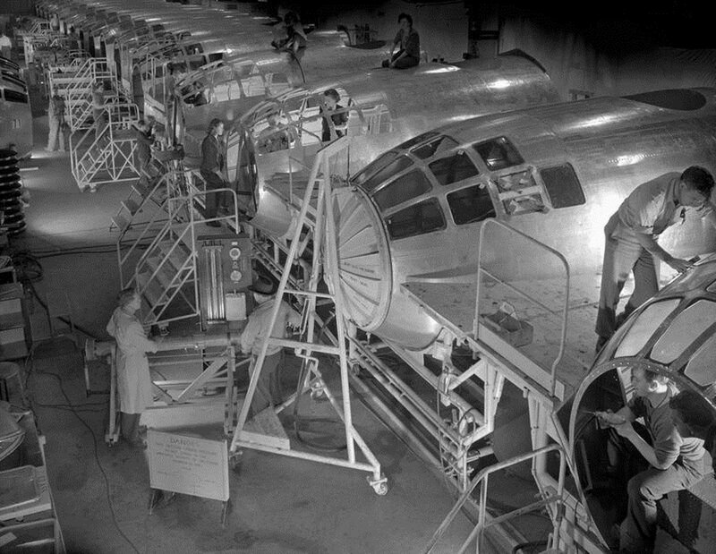 The Boeing B-29 Superfortress, the most technologically advanced airplane produced during World War II, first flew Sept. 21, 1942. The B-29 had many new features, including guns that could be fired by remote control. The crew areas were pressurized and co
