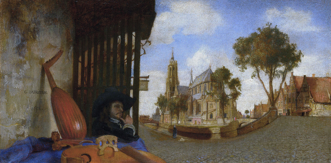 A View of Delft, with a Musical Instrument Seller's Stal, 1652, Fabritius, Carel (1622-1654)