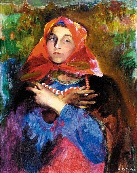 Картинки по запросу giclee painting: malyavin's russian maiden in a red headscarf, 61x46in