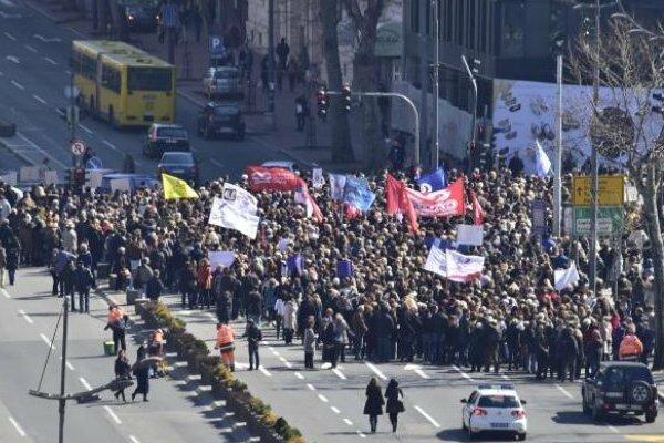 Сербия, протест, учителя, Белград