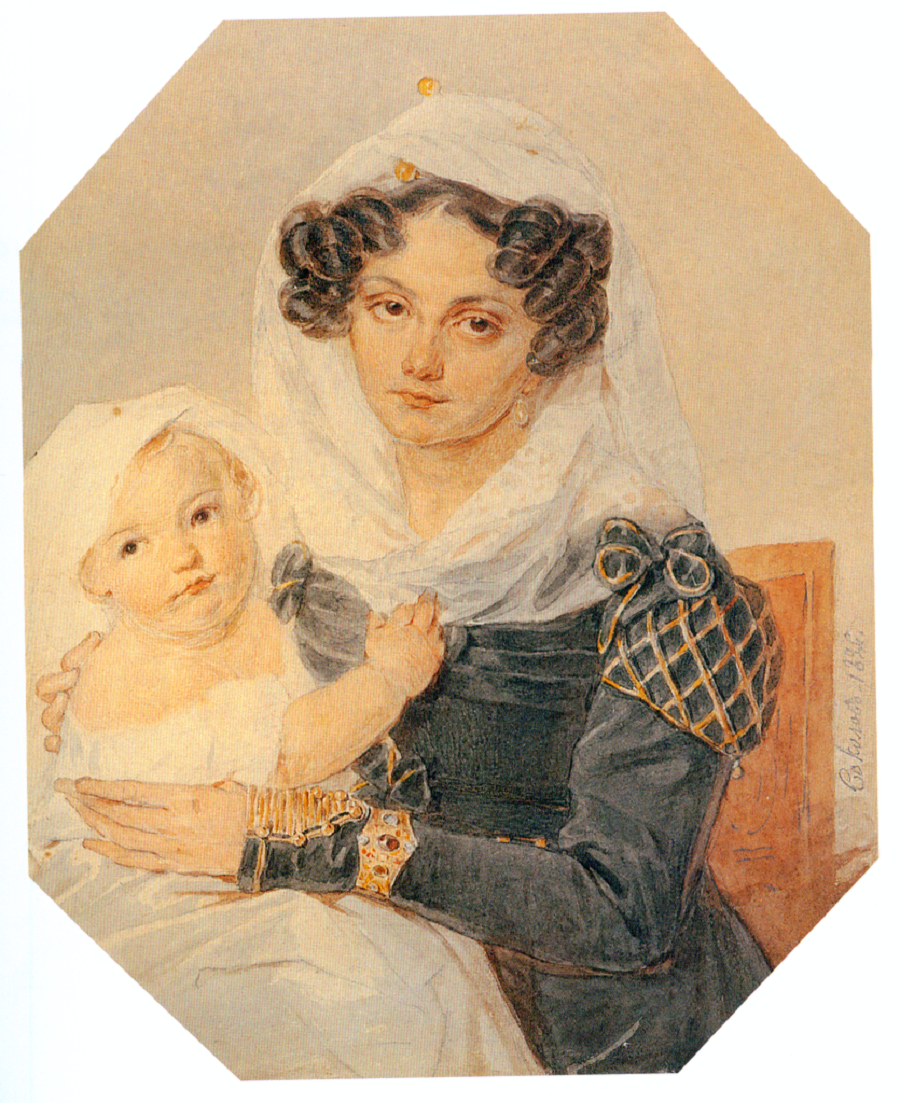 П.Ф. Соколов. Портрет княгини М. Н. Волконской с сыном Николаем. 1826. Бумага, акварель, карандаш, лак..png
