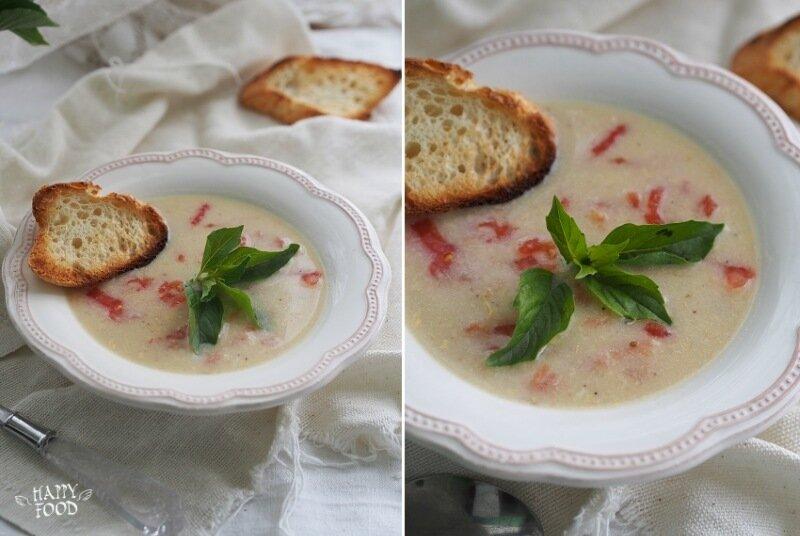 Сырный суп с томатами и базиликом (готовлю с посудой iCookTM)