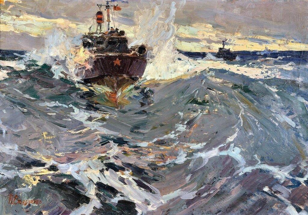 Столяренко Петр Кузьмич (1925) «Атака торпедных катеров» 1957.