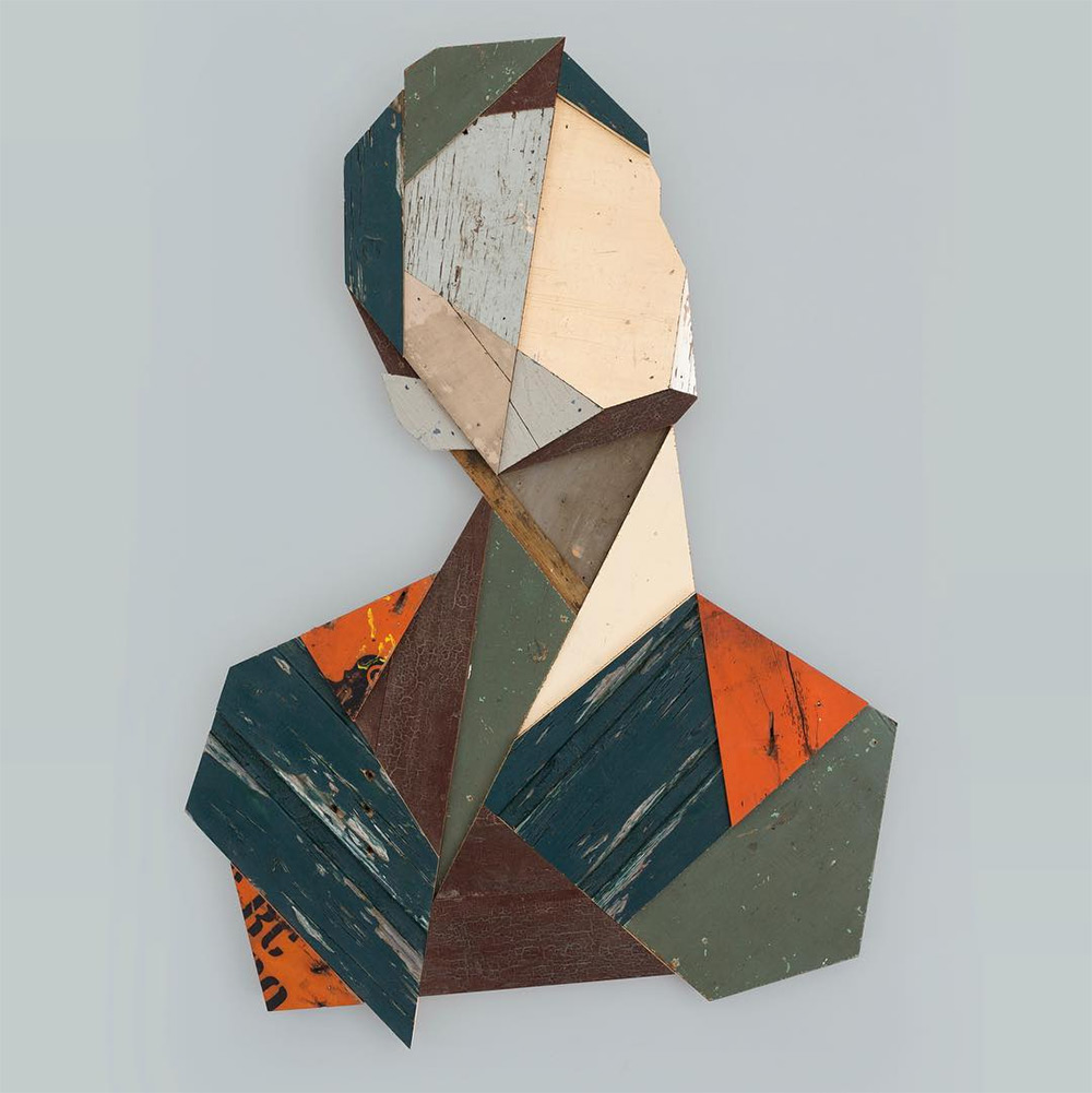 Geometric Portraits Constructed with Reclaimed Wood by 'Strook'