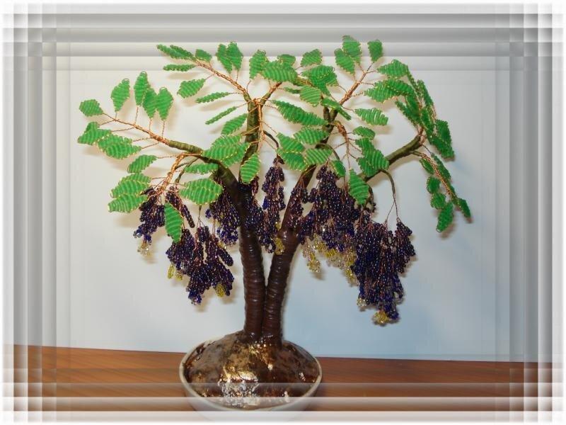 """nad456654 Деревце из бисера  """" Глициния  """" бисер бисерные деревья бисерные цветы бисероплетение деревья и цветы из..."""