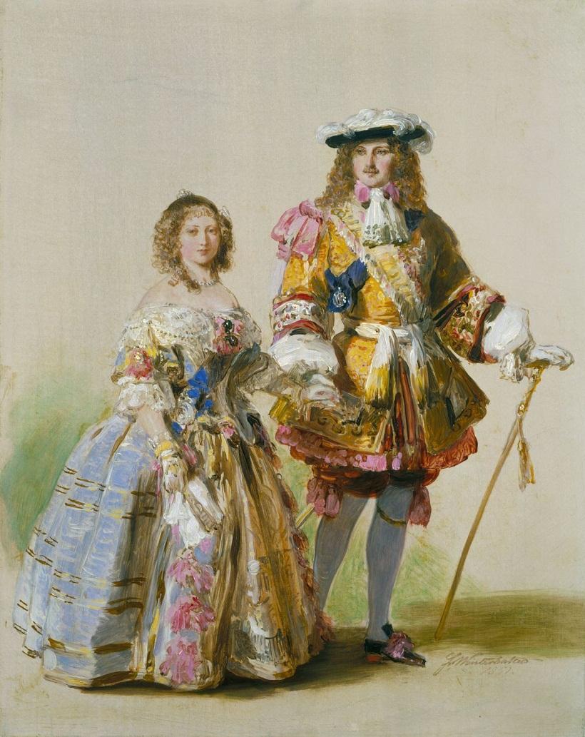 Королева Виктория и принц Альберт в костюмах времен Карла II  подписан и датирован 1851
