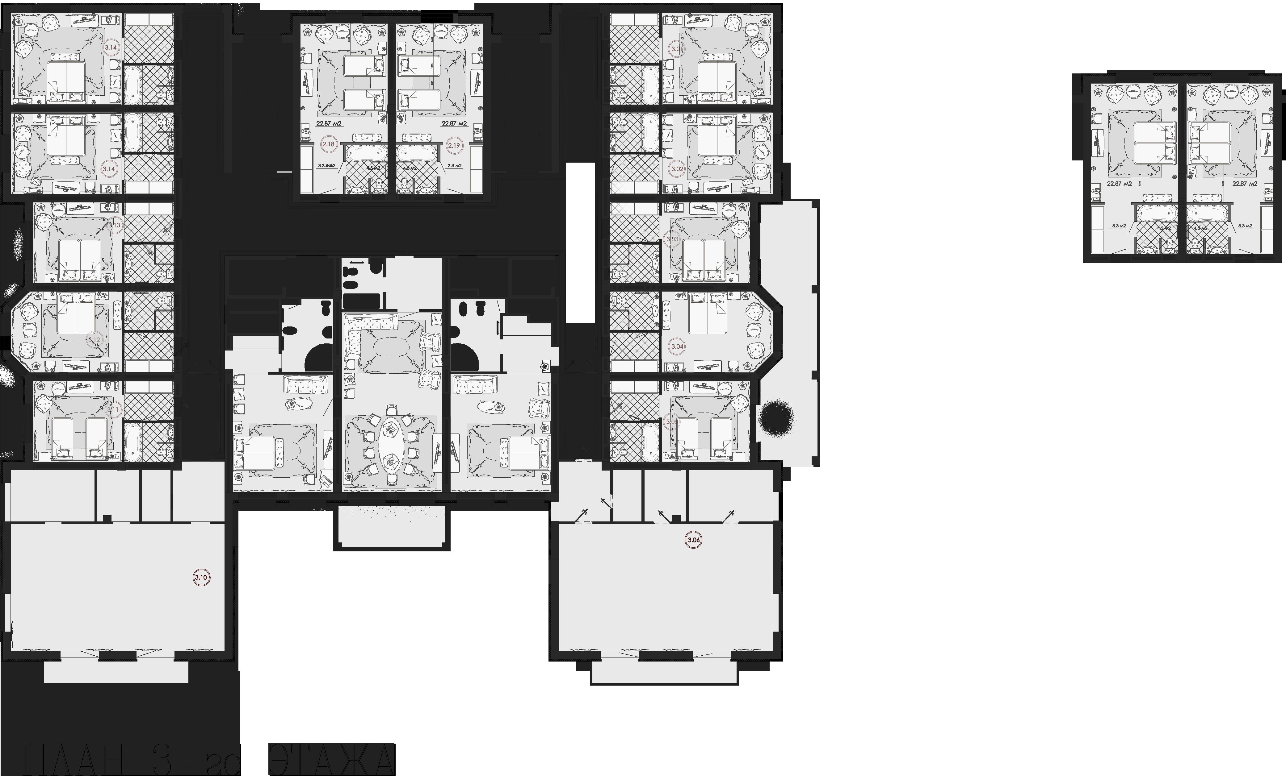 План третьего этажа c классической расстановкой мебели в индивидуальных номерах.