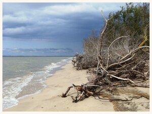 Узкая полоска песчаного берега