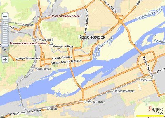 На карте Красноярска – столицы