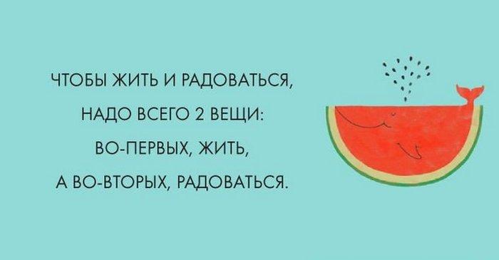 Чтобы жить и радоваться надо всего две вещи: во-первых, жить, а во-вторых, радоваться
