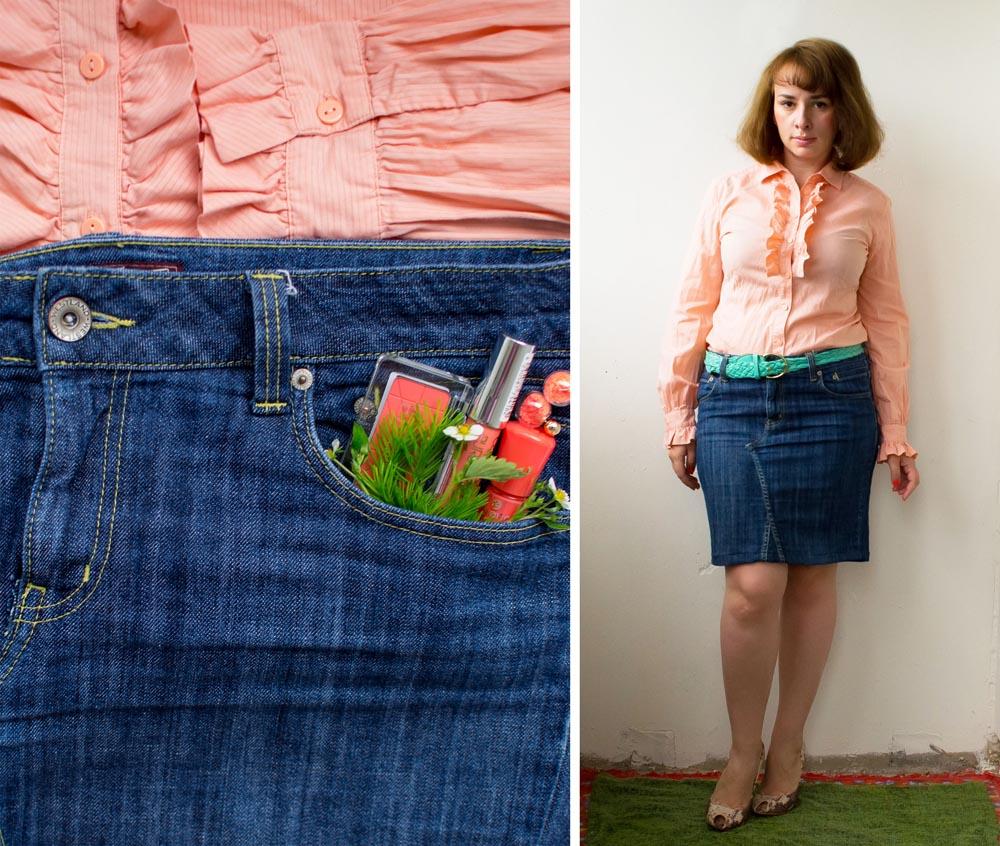 Сшить юбку из старой джинсовой юбки 220