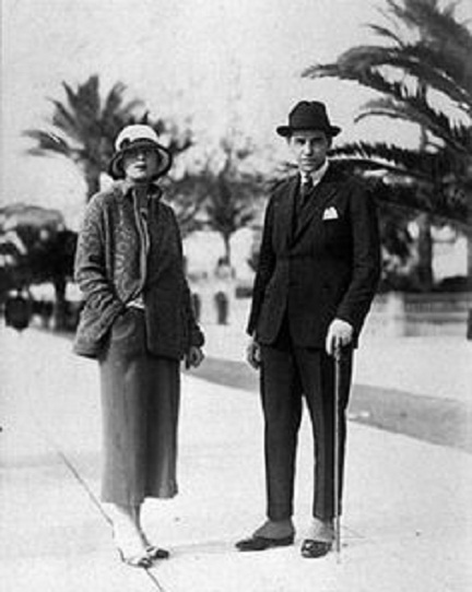 Тамара де Лемпицка и 1-й муж Тадеуш в Каннах, 1928