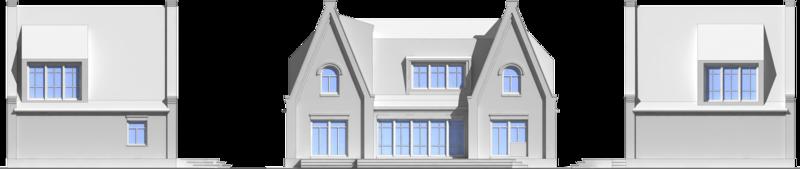 Боковой фасад, фронтальный фасад, боковой фасад