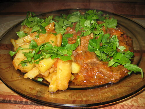 Говядина с картошкой тушеная фото рецепт