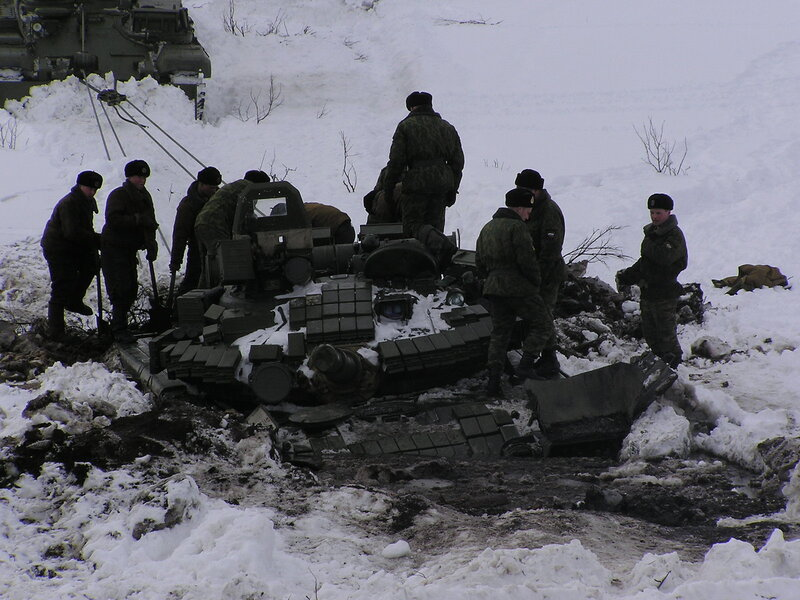 Russian tank in mud