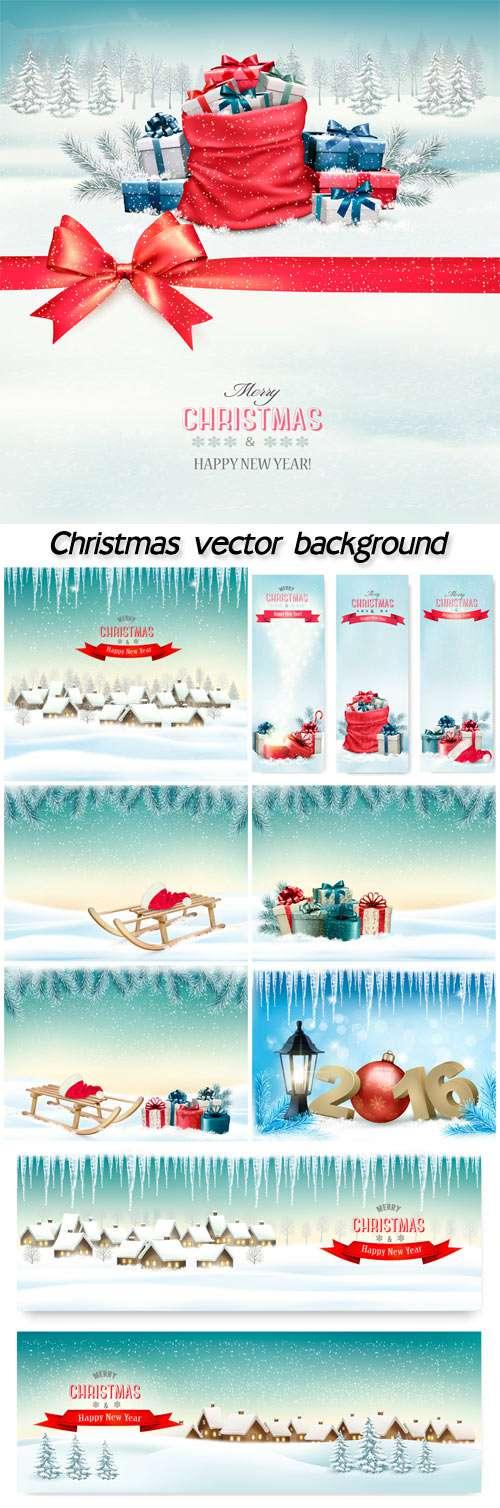 Рождество, зимний векторный фон