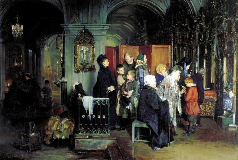 Корзухин Алексей Иванович. Перед исповедью. 1877
