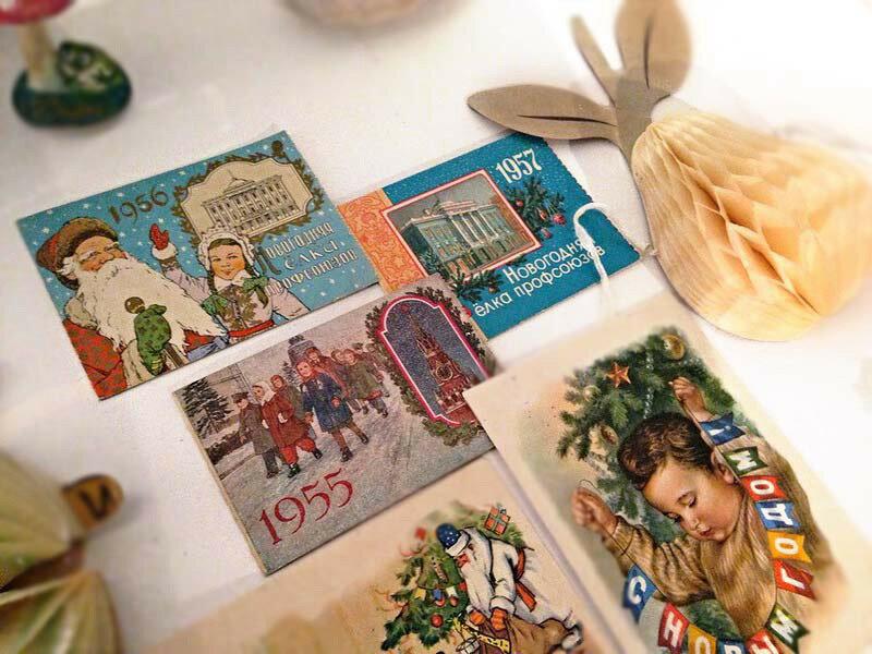 Новогодние открытки и приглашения на елку (1950-е)