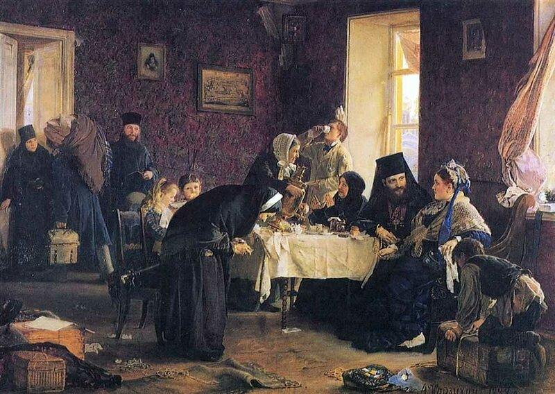 Корзухин Алексей Иванович. В монастырской гостинице. 1882