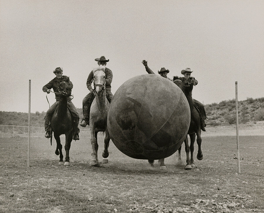 Arizona cowboys play sports to pass the time in Phoenix, 1955.jpg