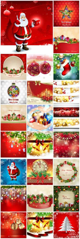 Рождество, Новый год, фоны, иллюстрации