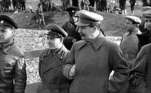 Сталин на строительстве канала Москва-Волга. Канал строился заключенными ГУЛАГа. Фото 20-х гг
