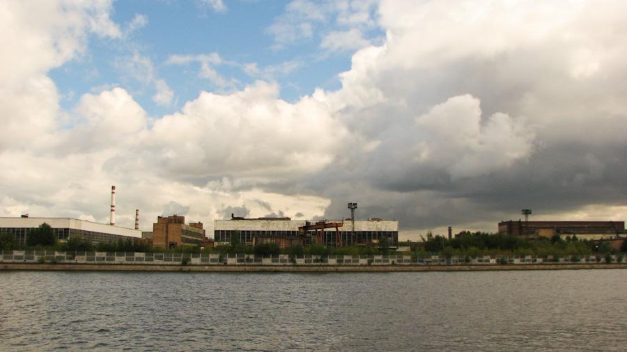 2008, город, лето, москва, небо, река, россия, завод, москва-река