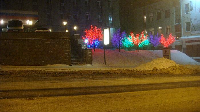 Владивосток,ночь, мэрия, снег,фонари