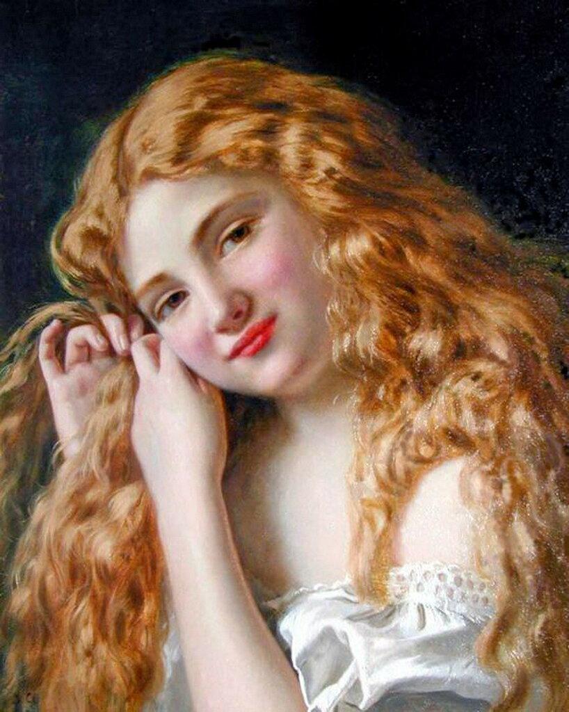 Девочка, собирающая волосы