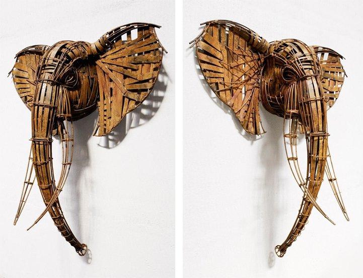 Кованые скульптуры из прутьев и бронзы