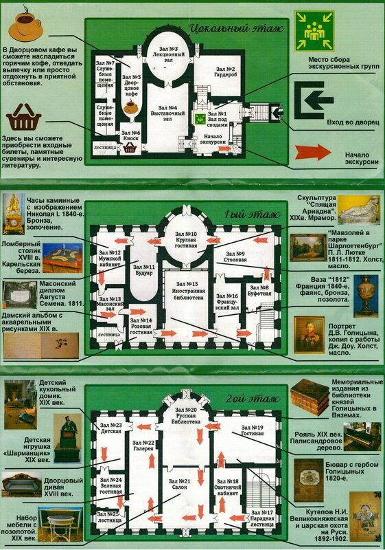 План-схема музея во дворце усадьбы Вяземы,