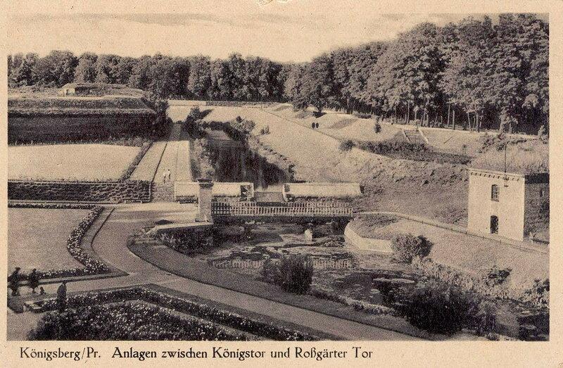 Вид на парковую зону за бастионом Грольман на Литовском валу, 1936 год, Калининград