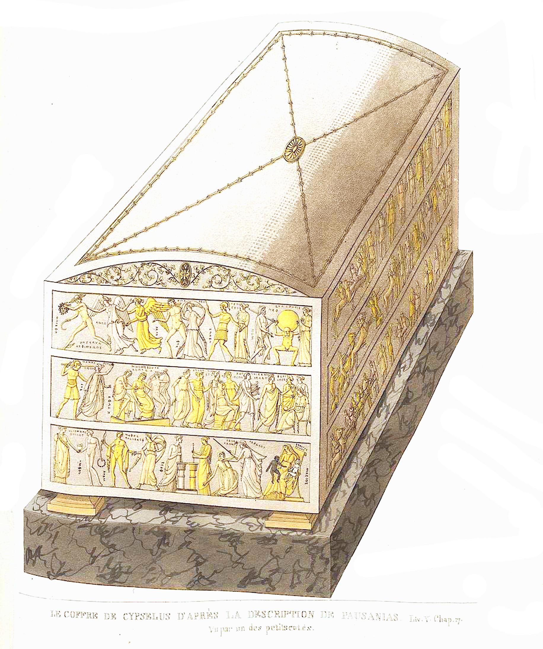 4. Сокровищница  Кипсела (сын Ээтиона) Le coffre de Cypsélus, vu par un des petits cotés