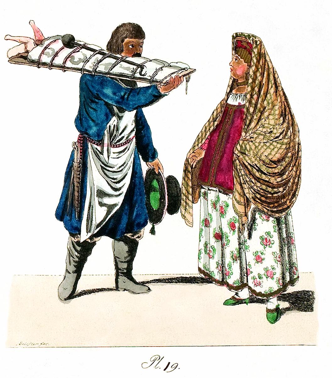 19. Fleischers mit einem Brett Schwein auf dem Brett und einer Kaufmannsfrau / ������ �� ������� �� ������� � �������