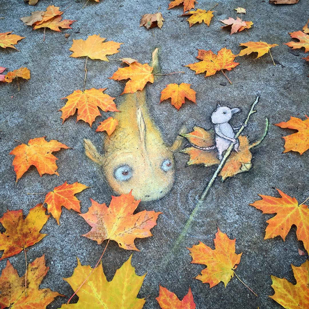 Quirky New Chalk Characters on the Streets of Ann Arbor by David Zinn (7 pics)