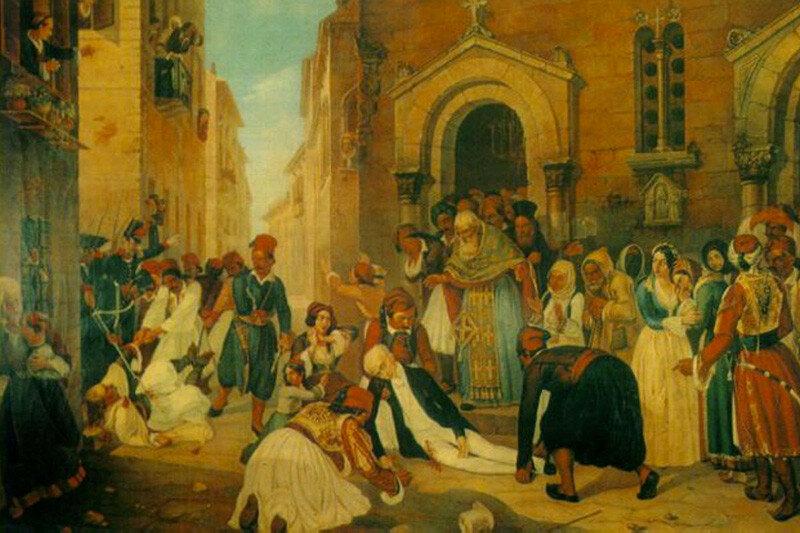 Дионисий Tsokos. Убийство Иоанна Каподистрия, 1850. Холст, масло. Триест